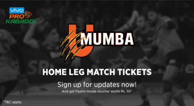 Sign up for updates on the VIVO Pro Kabaddi League 6 - U Mumba Home leg match tickets