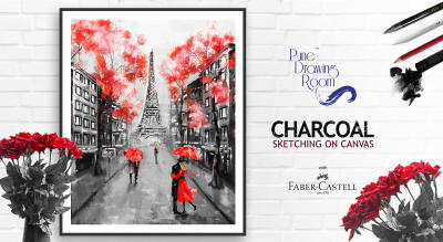 Charcoal Sketching on Canvas by Pune Drawing Room