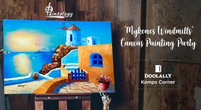 'Mykonos Windmills' - Canvas Painting Party by Paintology