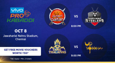 VIVO Pro Kabaddi - Puneri Paltan vs Haryana Steelers and Tamil Thalaivas vs UP Yoddha