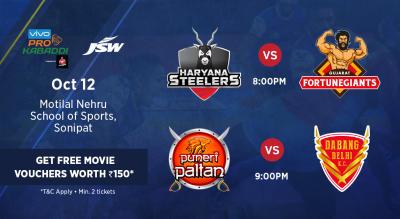 VIVO Pro Kabaddi - Haryana Steelers vs Gujarat Fortunegiants and Puneri Paltan vs Dabang Delhi K.C.