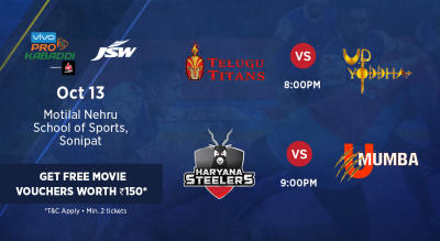VIVO Pro Kabaddi - Telugu Titans vs U.P. Yoddha and Haryana Steelers vs U Mumba