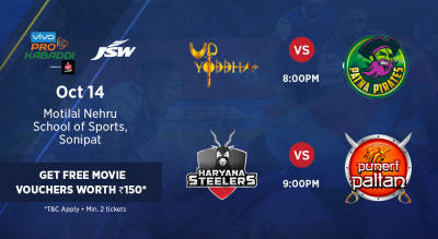 VIVO Pro Kabaddi - U.P. Yoddha vs Patna Pirates and Haryana Steelers vs Puneri Paltan