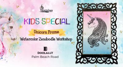 'Unicorn Frame' Water color Zendoodle workshop for Kids