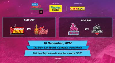 VIVO Pro Kabaddi - Bengaluru Bulls vs Telugu Titans and Jaipur Pink Panthers vs Haryana Steelers