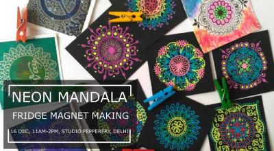 Neon Mandala Fridge Magnets Making