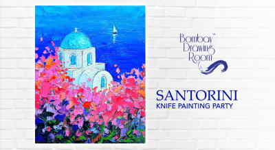 Shimmering Santorini Knife Painting Party by Bombay Drawing Room