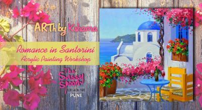 """Romance in Santorini"" an Acrylic Painting Workshop - ARTh by Kshama"