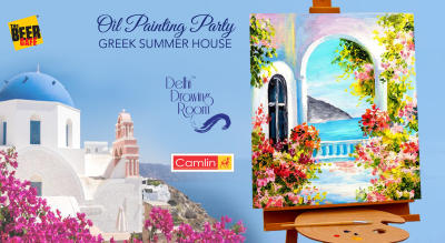 Oil Painting Party Greek Summer House by Delhi Drawing Room