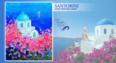 Shimmering Santorini Knife Painting Party by Pune Drawing Room