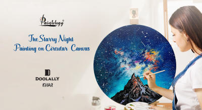 Circular Canvas Painting-'The Starry Night'