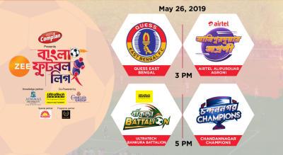 ZBFL 2019 : Quess East Bengal vs Airtel Alipurduar Agroni and Ultratech Bankura Battalion vs Chandannagar Champions
