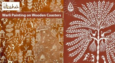 Warli Painting on Wooden Coasters