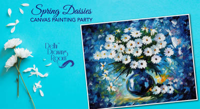 Spring Daisies Canvas Painting Party by Delhi Drawing Room