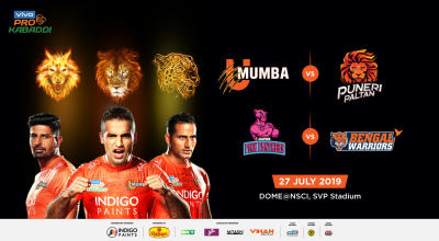 VIVO Pro Kabaddi - U Mumba vs Puneri Paltan and Jaipur Pink Panthers vs Bengal Warriors