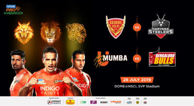 VIVO Pro Kabaddi - Dabang Delhi K.C vs Haryana Steelers and U Mumba vs Bengaluru Bulls