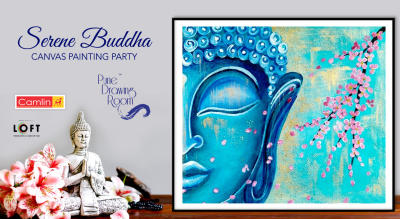 Serene Buddha Canvas Painting Party by Pune Drawing Room