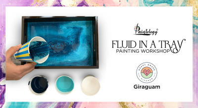 Fluid Painting workshop in a Tray, by Paintology