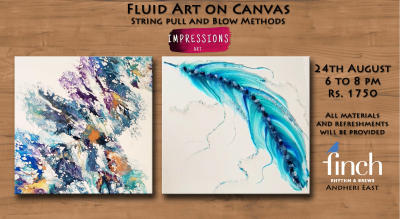 Fluid Art- String Pull and Blow Method, with Impressions Art