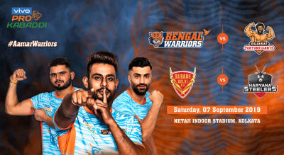 VIVO Pro Kabaddi 2019- Bengal Warriors vs Gujarat Fortunegiants and Dabang Delhi K.C. vs Haryana Steelers