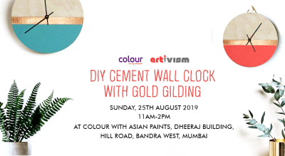 DIY Cement Wall Clock with Gold Gilding