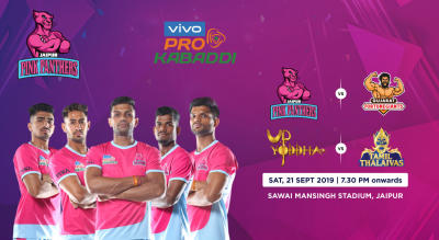 VIVO Pro Kabaddi 2019 -  Jaipur Pink Panthers vs Gujarat Fortunegiants and UP Yoddha vs Tamil Thaliavas