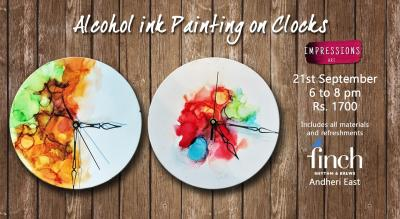 Alcohol Ink Art on clocks, With Impressions Art