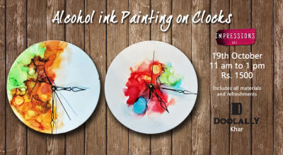 Alcohol Ink Painting on clocks, with Impressions Art