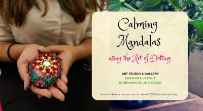 Calming Mandalas on Stones using the Art of Dotting Painting Party