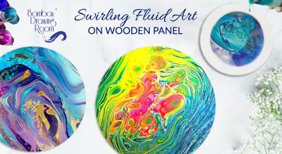 Diwali Special - Swirling Fluid art on Wooden Panel by Bombay Drawing Room