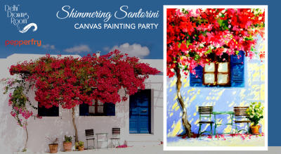 Shimmering Santorini Canvas Painting Party by Delhi Drawing Room