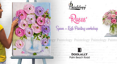 'Roses' Impasto Knife + Spoon painting party