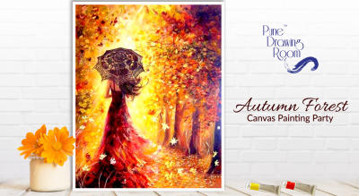 Autumn Forest Canvas Painting Party by Pune Drawing Room