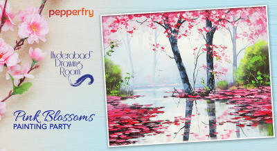 Pink Blossoms Canvas Painting Party by Hyderabad Drawing Room
