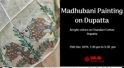 Madhubani Painting on Dupatta