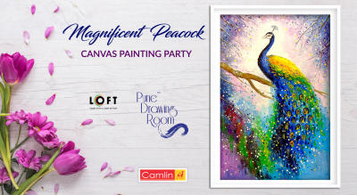 Magnificent Peacock Canvas Painting Party by Pune Drawing Room