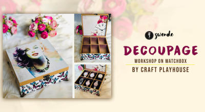 Decoupage on wooden watch box by Craft Playhouse