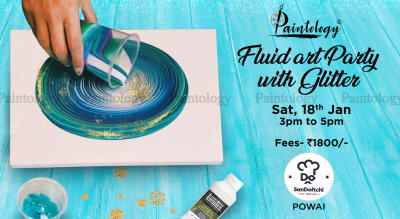 Fluid Art party With Glitter by Paintology at Powai