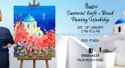 Knife + Brush Painting party 'Santorini' by Paintology