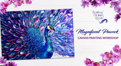 Magnificent Peacock Canvas Painting Workshop by Bombay Drawing Room