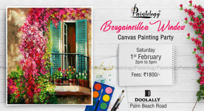 'Bougainvillea Window' Canvas Painting party, by Paintology