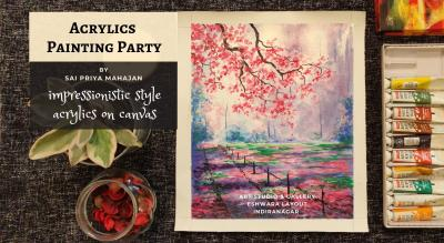 Cherry Blossoms Acrylics Painting Party Sai Priya Mahajan