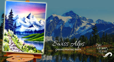 Swiss Alps Canvas Painting Party by Pune Drawing Room