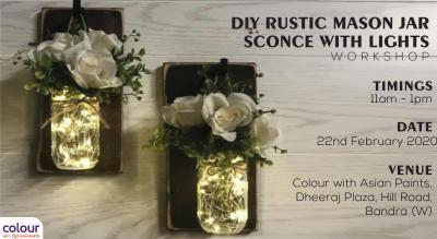 DIY Rustic Mason Jar Sconce With Lights