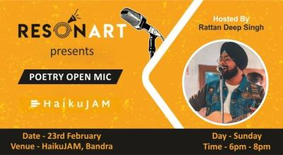 Resonart Presents Poetry Open Mic hosted by Rattan Deep Singh