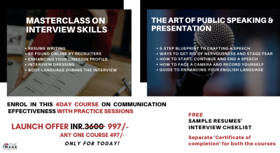 Interview skills + Public Speaking and Presentation skills GUARANTEED!!