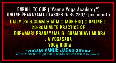 """Online YOGA (Asana, Mudra, & Pranayama) Classes"""