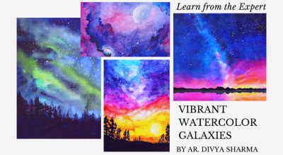 Watercolor Galaxies- Vibrant starry night skies, Northern lights & Landscape