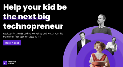 Free Coding Workshop for Kids (aged 10 to 18) by ProGrad Junior