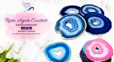 Resin Agate Coasters Online Workshop with Home Delivered Kits by Drawing Room
